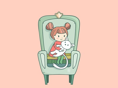 Time Cat animal cute child white cozy home armchair kitty girl illustration cartoon cat