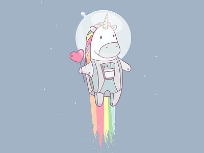 Space Unicorn character illustration cartoon magic rainbow space unicorn