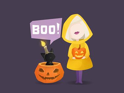 BOO! game character candle funny pumpkin raincoat halloween. girl cat