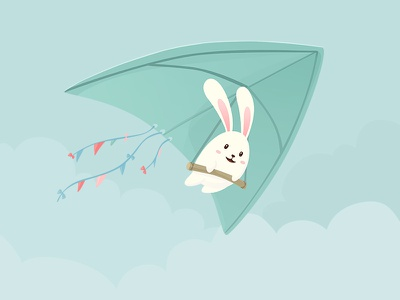 Let's Fly To The Sky cartoon paraplane happy cute character illustration bunny fly rabbit