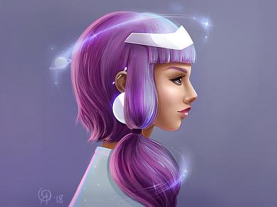 Cosmic Woman universe stars violet character woman cosmic