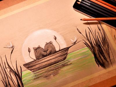 Little fluffy lovers in the boat in moon night by Olya