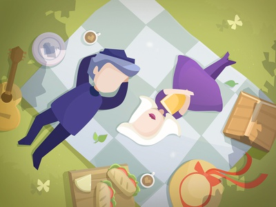 A Maze in Love. Game Postcard love girl picnic flat characters game