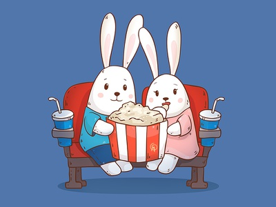 Our movie night friends illuatration food vector popcorn cute movie cinema love bunny