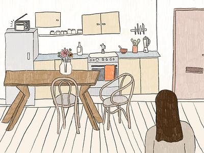 Un sueño recurrente girl drawing pencil animation illustration handdrawn