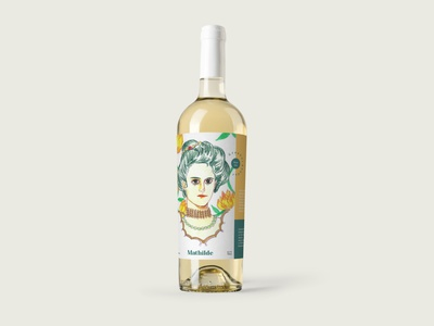 Mathilde wine label illustration drawing queen vino wine label