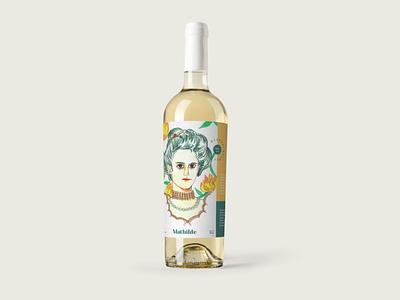 Mathilde wine label illustration drawing queen vino wine label