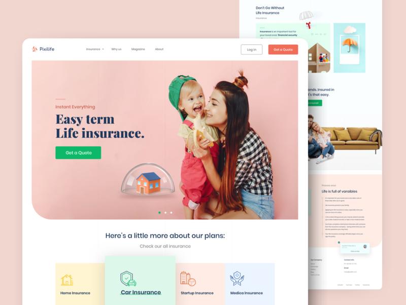 Pixilife - Insurance landing page ui ux landing page visual design exploration website health insurance car insurance life insurance insurance company insurance