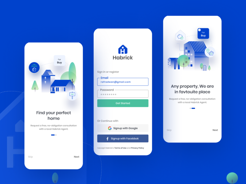 Homes For Sale / Rent App app design property search property splashscreen onboarding screen apartment sell realestate realestateagent homerent homesale