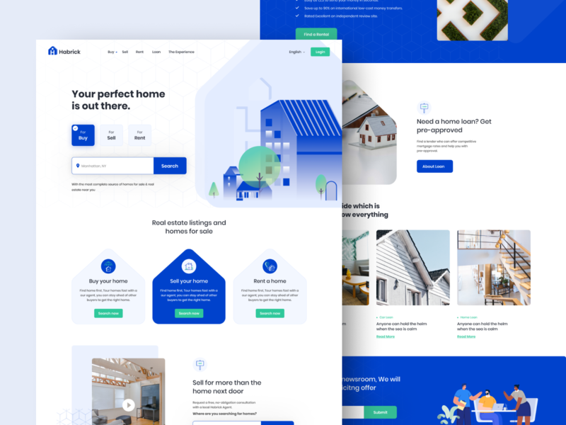 Real Estate Sell / Rent Homepage home page apartment sell real estate website property webdesign illustration website landing page realestate home rent home sell
