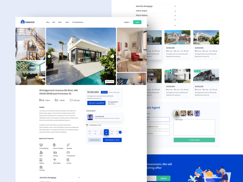 Real Estate Home Detail Page visual design webdesign landing page property property search realestate real estate details page uidesign time schedule agent homepage design about home details page home feature