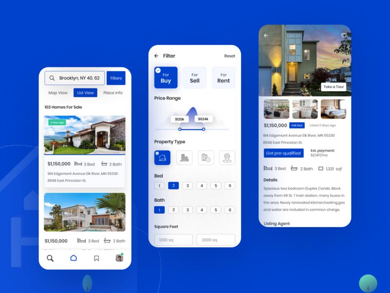 Real Estate Sale / Rent App app screen getpreapproved ux ui property app rent app rental app appdesigner appdesign realestateapp homebuy homesell