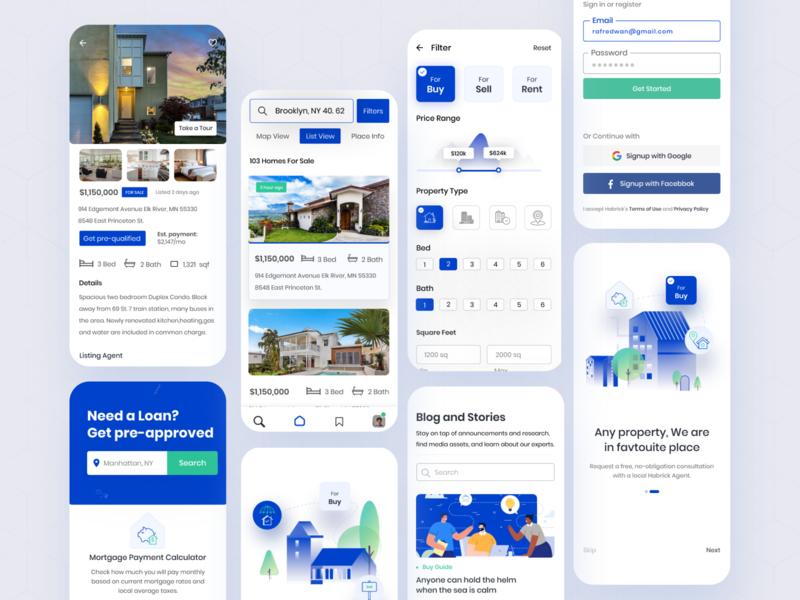 Real Estate Sale / Rent App rental app property app home buy home sell illustration ux ui webdesign screens mobileappdesign realestateapp realestate