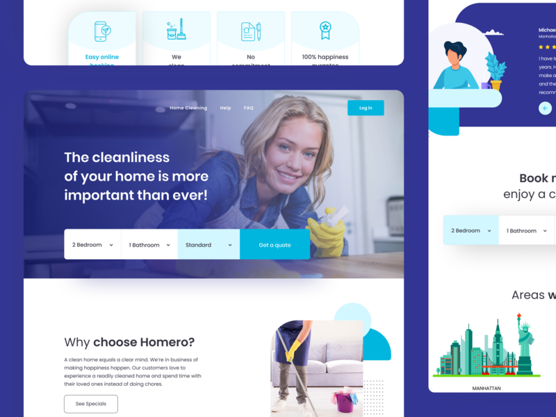 Cleaning Company - heyhomero uidesign cleaning company landing page landingpage ux ui website homepage heyhomero home cleaning cleaning cleaning service cleaning company