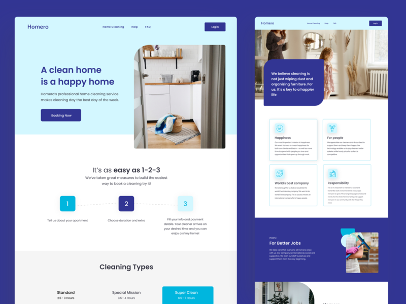 Cleaning Service - heyhomero cleaning company landing webdesign visual design landing page cleaning types service page services homeclean cleaning service cleaning cleaning company