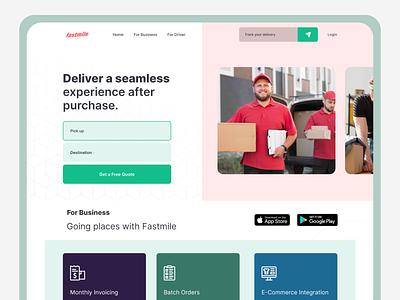 Fastmile - Delivery Experience webdesign website landing page deliver driver parcel delivery app delivery service