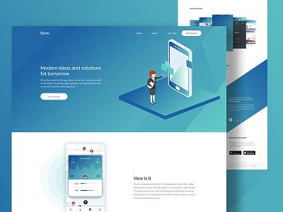 App Landing Page design isometric homepage ux ui page landing app cleandesign