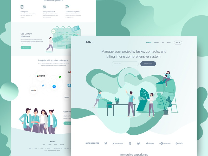 Salto - SaaS Landing Page Full Preview clean vector website typography landing page webdeisgn illustration trend uidesign ux design saas landing page saas