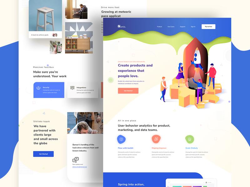 Nomis - Landing page web design 2019 illustration webdesign agency ux ui startup product landing page layoutdesign flat gradient creative clean
