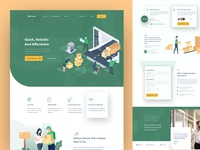 Xpress - Parcel/Package Delivery Landing minimal landing page illustration green xpress package delivery shipping parcel delivery