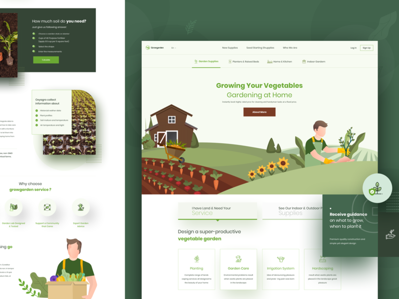 Growgarden - Landing Page landing page webdesign ux ui visual design agriculture gardening landing page gardenscapes gardening gardener home garden growing planters