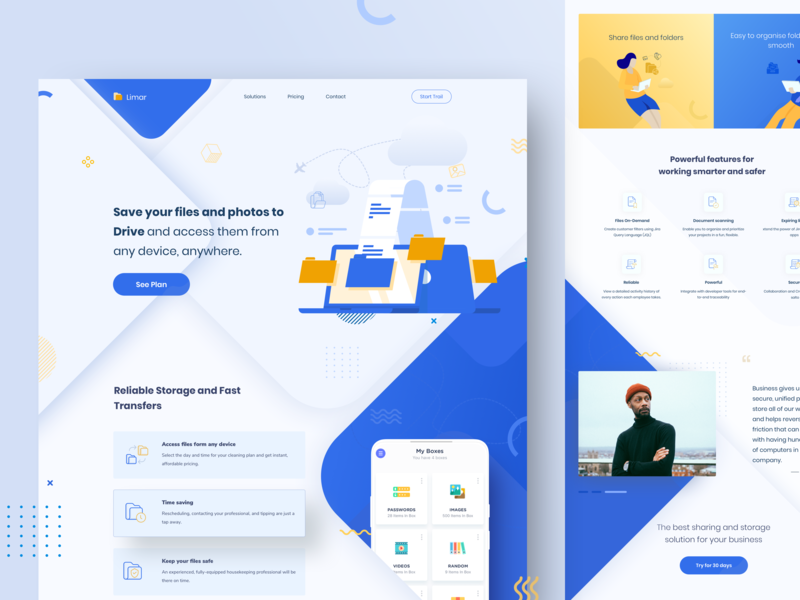 Limar - Drive Storage Landing Page by Raf Redwan for Crunchy