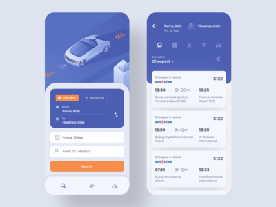 Bus, Car, Flight Book App