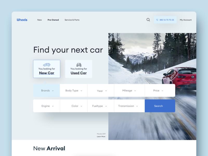 Wheels - Home Style 02 product design webdesign website design designsystem dealer dealership car