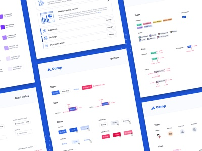 Camp: a design system library visual styleguide style guide component library component avatar tag chip button color ux ui design system identity product design design