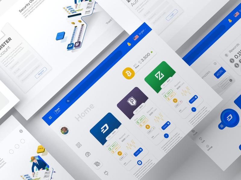 Track Coin website illustration app web ux ui design