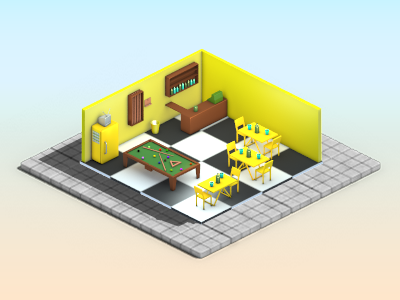 HMF-Ville Coca-Cola cocacola coke building miniature low poly game monster juice 3d isometric