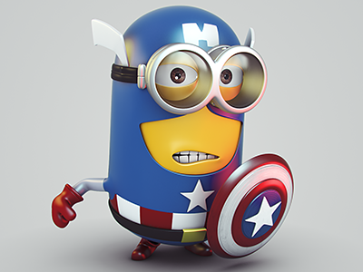 Captain Minion minion captain character 3d america shield