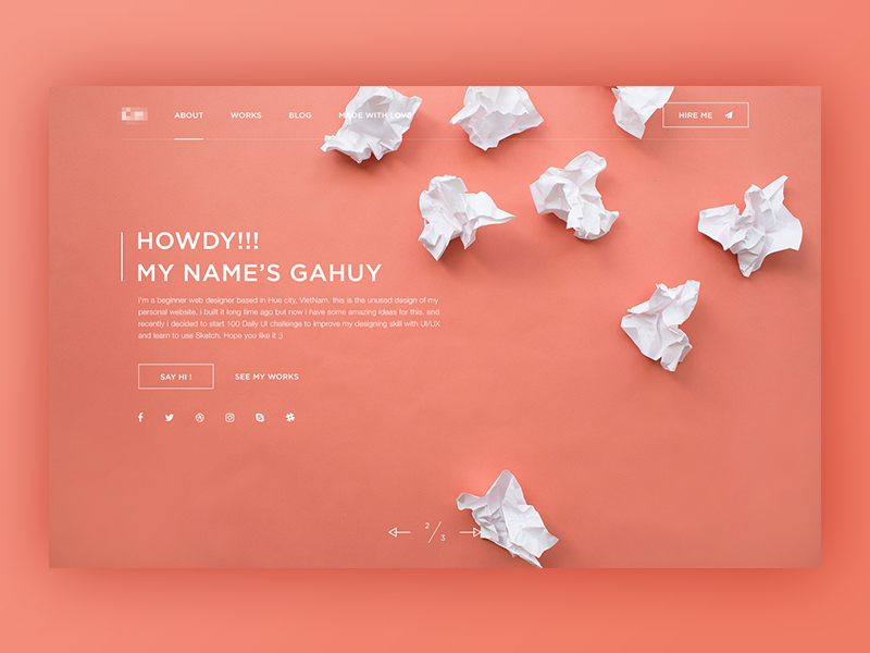 Unused - Personal Site ui hire creative freelancer personal website about header web