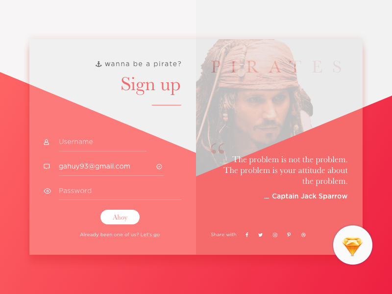 Daily UI #01 Sign Up - Freebies day 01 sign in sign up daily ui pirates jack form freebies sketch free