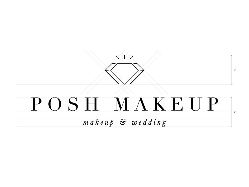 Posh Makeup Logo make up serif beauty jewels gem logo diamond bridal wedding fashion makeup posh