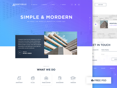 Architecture Concept - Free PSD real estate template layout freebies photoshop psd free construction ui web building architecture