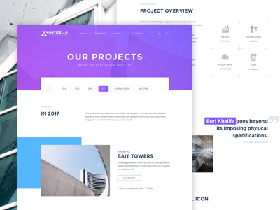 Project Page - Architecture Concept web design user interface user experience free psd website ux typography layout design clean buildings architecture