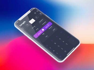 Converter App - iPhone X user interface iphone x unit ios mobile dark length converter app ux ui iphone