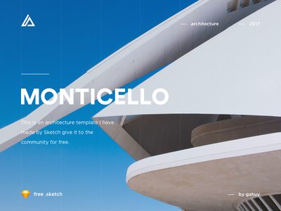 Monticello - Architecture Website Concept (free .sketch) web design user interface user experience free sketch website ux typography construction gradient clean buildings architecture