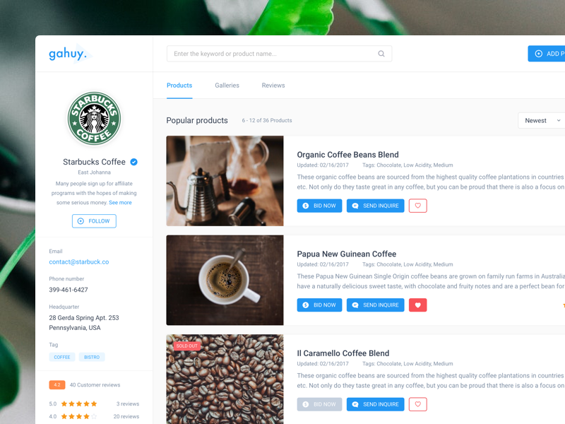 ☕️ Products - Galleries - Reviews Page [WIP] review gallery dashboard business product coffee web app b2b ui ux vietnam