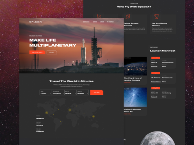 SpaceX Homepage Concept elon musk future vietnam rocket fly travel falcon mars planet homepage spacex space