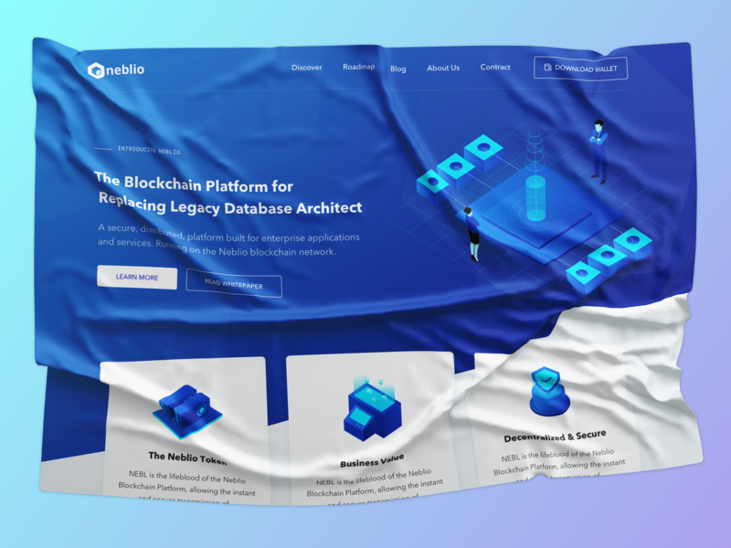 Neblio - Open-Source Blockchain Solutions   Re-design icon uisml crypto crypto currency block chain isometric business illustration layout web vietnam ux ui