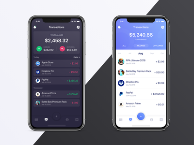 Transactions - Dark or Light? 🌓 vietnam layout business ui theme dark light transaction bank finance wallet card income outcome expenses chart