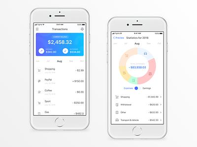 Banking App - Transactions & Stats shopping stat expense income transaction mobile vietnam basic modern ui bank app money finance banking app banking