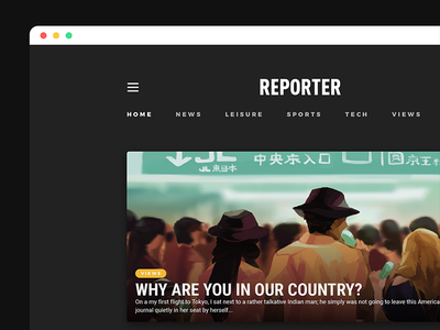 Reporter Site • Visual Design Preview visual interaction design layout comp design ux ui user experience user interface