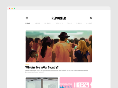 Reporter Site • Visual Design Preview 2 ux  visual user interface user experience ui layout interaction design design comp