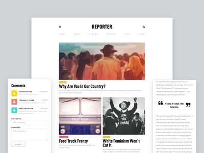 Reporter Site • Interactive Redesign news website web design user interface user experience news css html interface interaction design ui ux