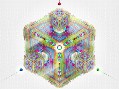 Fusion Cube  lines abstract pattern 3d cube fusion