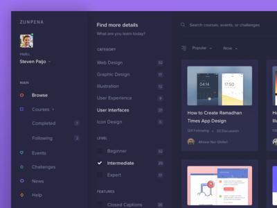 Zunpena - Filter Design Courses filter zunpena web ux ui online design dashboard dark courses colorfull