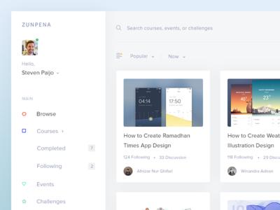 Light Zunpena - Design Courses zunpena web ux ui online design dashboard light courses
